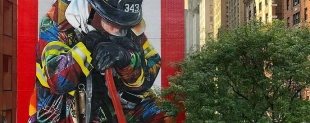la balade du mercredi: new York, fresque hommage aux pompiers du 9/11